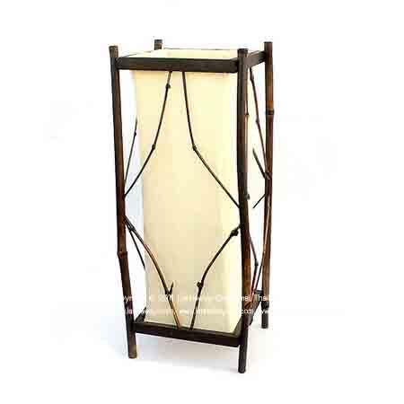 โคมไฟตั้งโต๊ะ ไม้ไผ่สี่เหลี่ยม
