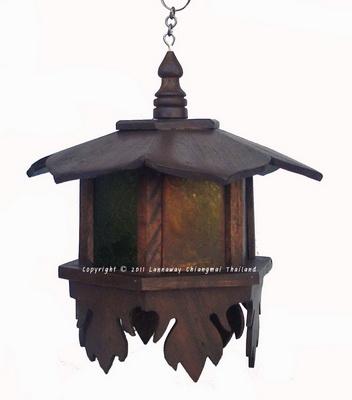 โคมไฟไม้สักแขวน ดอกเห็ดเล็กแขวนกระจกสี