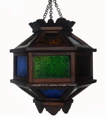 โคมไฟไม้สักแขวน บอลลูนเล็กกระจกสี