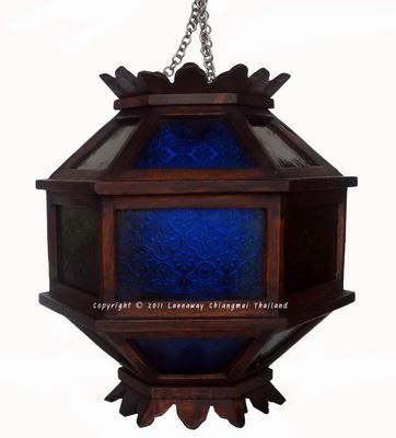 โคมไฟไม้สักแขวน บอลลูนใหญ่กระจกสี
