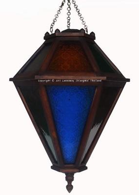 โคมไฟไม้สักแขวน ลูกดิ่งกระจกสี