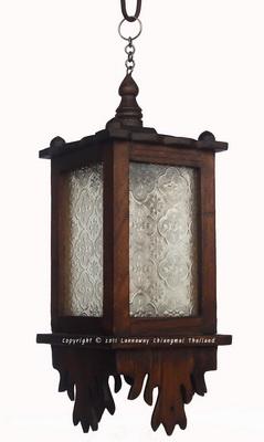 โคมไฟไม้สักแขวน สี่เหลี่ยมกระจกขาว