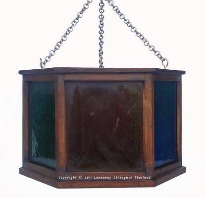 โคมไฟไม้สักแขวน หกเลี่ยมกระจกสี