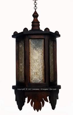 โคมไฟไม้สักแขวน หกเหลี่ยมกระจกขาว